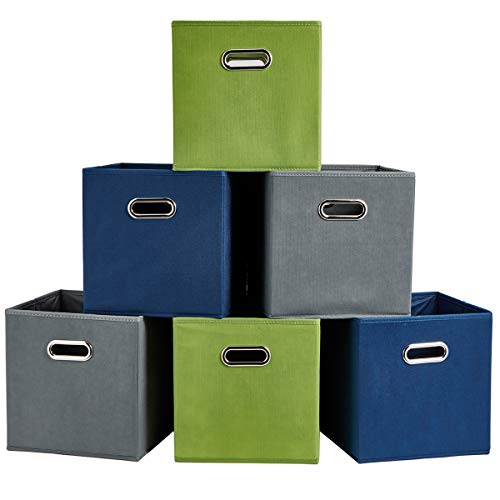 SHACO Durable Double Metal Handle Cloth Storage Cubes Multiple-Color Foldable Cube Storage Bin6 Packs