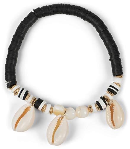 styleBREAKER Damesarmband met 3 schelpen en verschillende kralen, elastiek, stretch armband, strand armband, sieraden 05040180