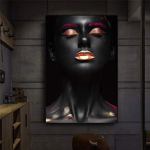 XCSMWJA Cuadro sobre Lienzo Lienzo Pintura Modular Cartel Home Decoración Africana Mujer Negra Imágenes Pared Arte HD Impreso Estilo Nórdico para La Sala De Estar 60x90cm