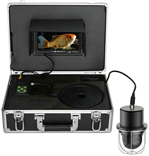 YUKM Fischfinder, 7-Zoll-Monitor-DVR-Recorder, 100M Tragbarer IP68 Wasserdicht 20 LEDs Rotierende Kuppel-Panorama-Ansicht Unterwasser-Fischerei-Videokamera