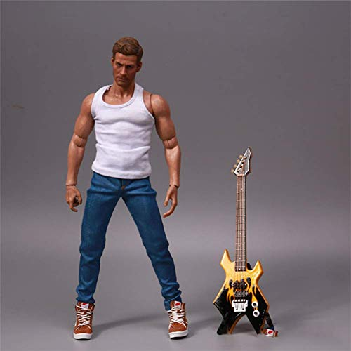 ZSMD E-Gitarre Modell 1/6 Scale Proportional Soldat Musikinstrument Schwarz 18cm Für HT, VERYCOOL, TTL, Hottoy, Play, PHICEN (A)