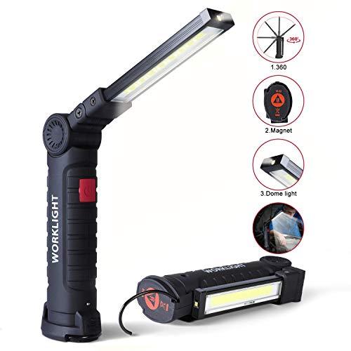 Linterna de Trabajo COB LED, USB Recargable Portátil Lámpara de Trabajo con Base Magnética y Gancho para Reparación de Automóviles,Taller,Garaje,Camping,Iluminación Exterior y de Emergencia