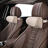 CANLER ネックパッド 調節可能 低反発 車用首枕 ヘッドレスト 運転席 旅行 頚椎サポート ネッククッション ネックピロー ドライブ 1個セット (ベージュ)
