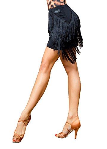 SCGGINTTANZ Superstar-Serie:G2044 Latein Der Ball Tanz Gesellschaftstanz Professionell Zwei-Schicht-Quaste Swing Rock ((SBS) Black, S)