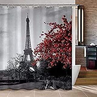 Uphome 72 x 72 Inch Waterproof Grey Paris Eiffel Tower Custom Bathroom Shower Curtain - Cityscape Red Flower Polyester Fabric Bathroom Curtain Ideas