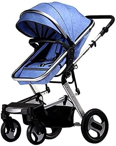 Cochecito de bebé ajustable con vista alta con ventilador y cubierta de lluvia para cochecito, cochecito de bebé de lujo con paraguas, cochecitos de bebé ligeros, cochecito de bebé con neumáticos de