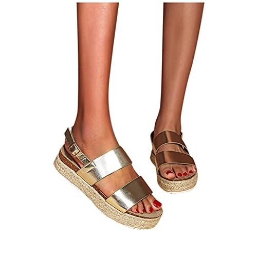 Sandalias de tacón de cuña para Mujer Casual playa,Sandalias de Estilo romanas,Punta...