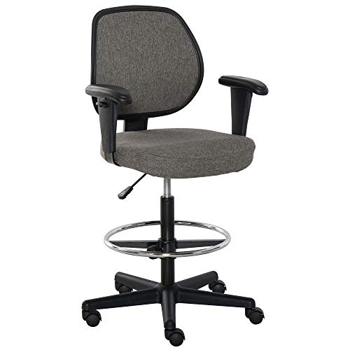 Vinsetto Drafting Chair Tall Office Fabric Standing Desk Chair with...