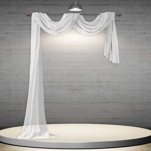 DONREN White Sheer Window Scarf Valance - Luxury Soft Semi Sheer Scarf for Window Wedding Arch Sheer Curtains Scarf (1 Panel,52 x 216 Inch Length)