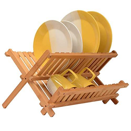 YUDIZWS Dish Rack Traydish Rack Large, Collapsible Dish Drying Rack, Bamboo Kitchen Dish Rack And Drainboard Set for Plates, Cups, Mugs, Utensil, Flatwares,bamboo