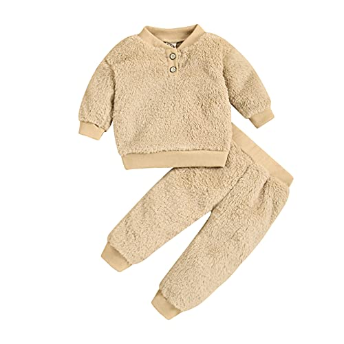 Cappotto Bambino Elegante Set di 2 Pezzi Neonato Sweatshirts Vestiti Autunno Inverno Cardigan in Maglia Comodo Lunga Cotone Girocollo Tinta Top + Tinta Unita Pantaloni Bambini Outfit 1-3 Anni