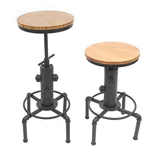 Wangkangyi 2X Barhocker höhenverstellbar, Barstuhl aus Holz und Metall, Tresenhocker mit Fußstütze, Bistrohocker, Industrie-Hocker Küchenhocker, ideal für Restaurants, Cafés