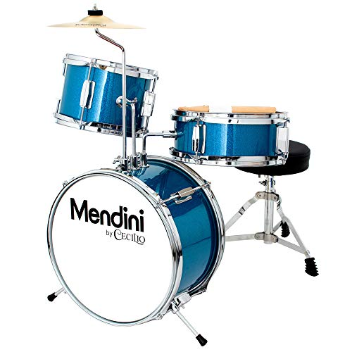 Mendini by Cecilio 13 inch 3-Piece Kids/Junior Drum Set with Throne, Cymbal, Pedal & Drumsticks (Blue Metallic)