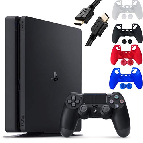 Sony Playstation 4 Console - 1TB Slim Edition Jet Black - with 1 DualShock 4 Wireless Controller - Family Holiday Gaming Bundle - iPuzzle 4 Colors Silicone Cover Skin Protector for PS4 Controller