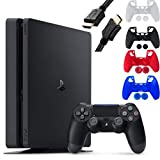 Sony Playstation 4 Console - 1TB Slim Edition Jet Black - with 1 DualShock 4 Wireless Controller - Family Holiday Gaming - iPuzzle 4 Colors Silicone Cover Skin Protector for PS4 + 6 Feet HDMI Cable