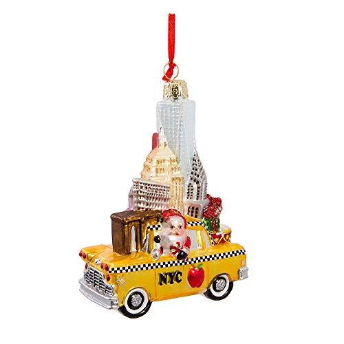 Kurt Adler 5' NYC Santa in Taxi Glass Ornament
