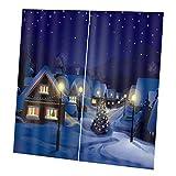 FLAMEER Weihnachten Stil Duschvorhang Badevorhang Fenster Vorhang Vorhänge mit 9 Haken - Nacht, 170 x 200 cm (67 x 79 Zoll)