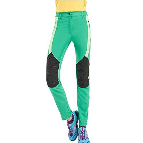 CIKRILAN Femme Respirant Quick Dry Élastique Pantalon Outdoor Sport Pantalon de Camping randonnée d'escalade (Large, Vert)