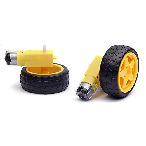 Cylewet 2Pcs Plastic Tire Wheel with Gear Motor Dual Shaft for Smart Car Robot Arduino (Pack of 2) CYT1059