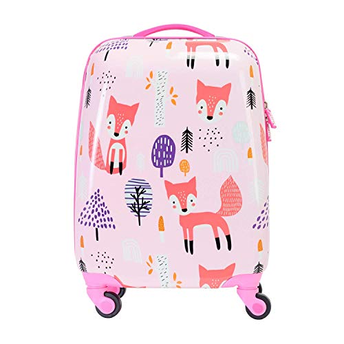 BONTOUR Children's Suitcase Travel Suitcase with Cartoon Character 4 Wheels Trolley Children's Luggage for Boys and Girls