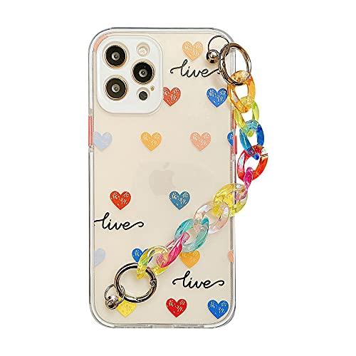 Custodie per cellulari con bracciale Love Heart per iPhone 12 pro max 11 promax X XS XR 7 8 Plus SE 2020 Cover posteriore morbida con catena colorata, A, per iPhone SE 2020
