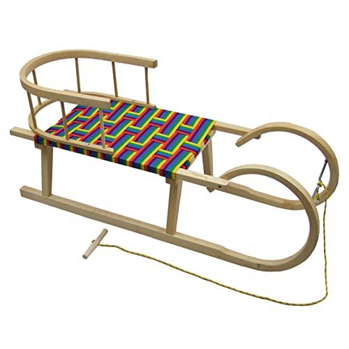 BambiniWelt Hörnerschlitten, Hörnerrodel mit Rückenlehne und Zugseil, Sitzfläche aus Kunstfasern,100cm, REGENBOGENDESIGN