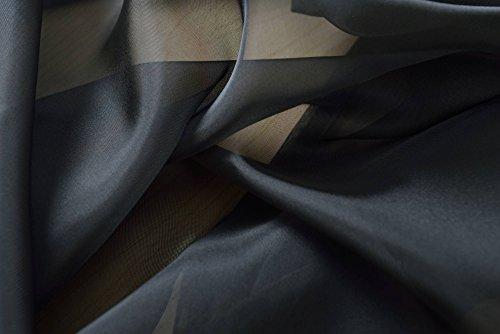 Gardinenbox Stoff Meterware Voile, transparent aus Polyester, Schwarz, 61050