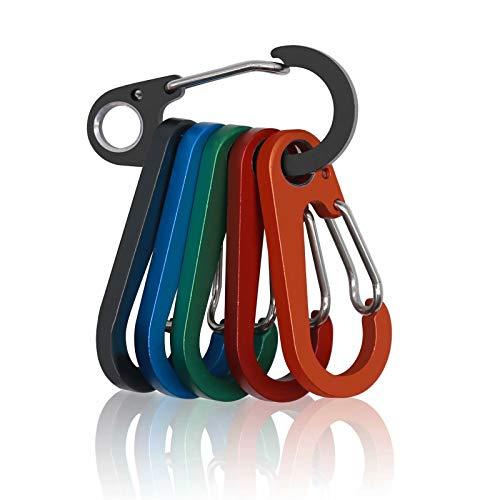 Surglam Klein Karabiner Haken Schlüssel, 6 Stück Mini Karabinerhaken schlüsselanhänger schlüsselkarabiner klein, D Form karabiner Set für Camping, Angeln, Wandern oder Reisen