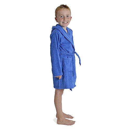 CityComfort Kinder Morgenmantel Kinder Jungen Mädchen Kapuzen Frottee Bademantel 100% Baumwolle Terry Handtuch Bademantel Soft Frottee Lounge Wear 7-13 Jahre (9-10, Royalblau)