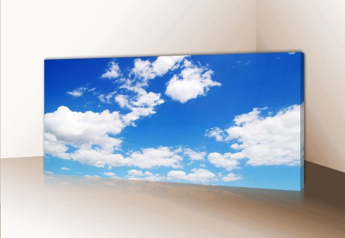 wandmotiv24 Leinwandbild Panorama Nr. 215 Himmel 100x40cm, Bild auf Leinwand, Blau Wolken Sky
