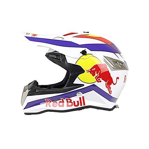 QXFJ Fullface Helm,Motorradhelm Fahrradhelm ABS-GehäUse DOT ECE-Zertifizierung Mehrere EntlüFtungsöFfnungen Coole Form Schnellverschluss Herausnehmbares Futter Schutzbrille Geben Red Bull