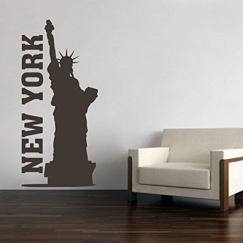 New York City Skyline Freiheitsstatue Wandtattoo Wandaufkleber Wandsticker Wohnzimmer Kinderzimmer Aufkleber Sticker (60 x 28 cm, Schwarz)