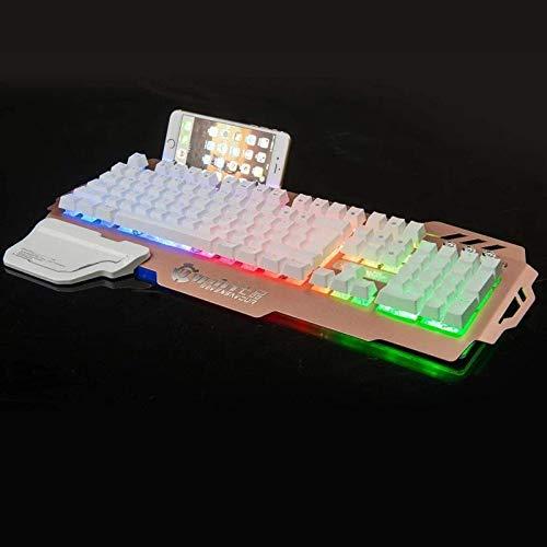 Teclado mecánico para juegos, teclado para juegos con cable y luz de respiración ajustable, teclado para reposamuñecas adecuado para Mac, PC, jugadores de juegos portátiles