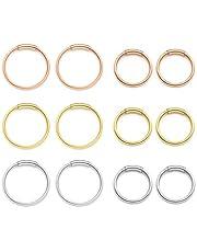 Zysta Set di 6 Paia Orecchini a Cerchio Anelli per Donna in Acciaio Inox 20ga 8/10mm Piercing per Corpo Naso Labbro Trago Sopracciglio Colore Nero Argento Oro Oro-rosa
