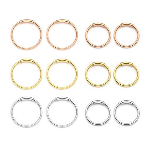 Zysta Set di 6 Paia Orecchini a Cerchio Anelli per Donna in Acciaio Inox 20ga 8/10mm Piercing per Corpo Naso Labbro Trago Sopracciglio Colore Nero Argento Oro Oro-rosa -#2