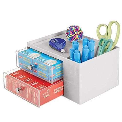 mDesign Plastic Home, Office Storage Caddy Box for Desk, Countertop, Cubicle - 2 Drawers, 2 Side Compartments, Top Shelf - Organizer Holds Pens, Erasers, Sticky Notes, Binder Clips - Stone/Clear