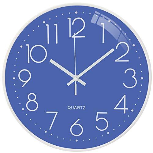 Orologio da parete moderno e silenzioso, orologio da parete digitale senza ticchettio da 12 pollici, utilizzato per la decorazione della parete in cucina, soggiorno, camera da letto, ufficio (Blu)