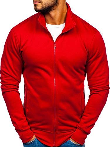 BOLF Herren Sweatshirt Reißverschluss Zip Stehkragen Sport Style J.Style B002 Weinrot L [1A1]