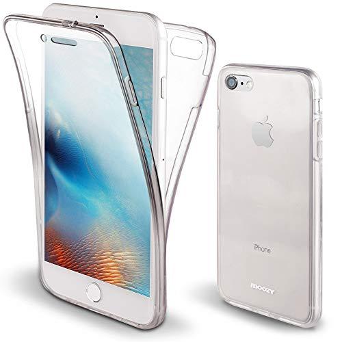 Moozy Cover Protezione 360 Gradi per iPhone 7, iPhone 8 Silicone Trasparente - Full Body Custodia TPU Case Copertura Completa