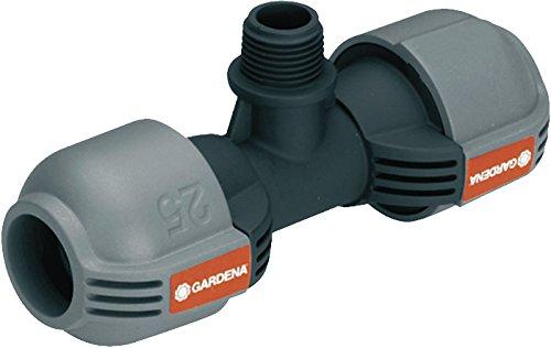 Gardena Sprinklersystem T-Stück für Außengewinde: Verbindungsstück für Anschluss im Rohrverlauf von Versenkregner, 25 mm x 1/2 Zoll- Außengewinde, Quick&Easy Verbindungstechnik (2786-20)