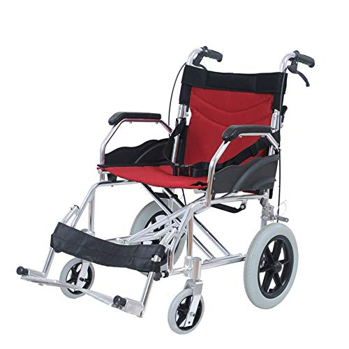 JY Rollstuhl, Falten Licht Old Man Behinderte Scooter Tragbare Reise Trolley Schlauchboot hgfjghfdgfd/Rot