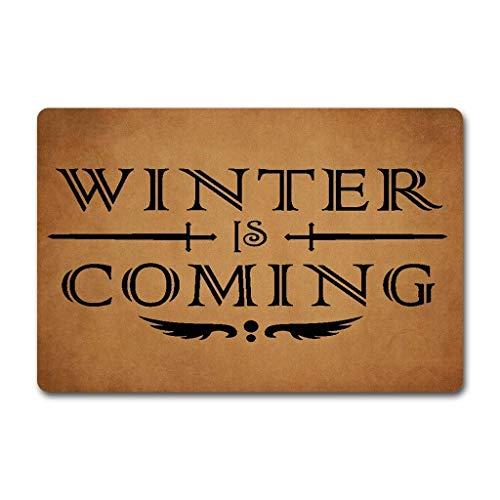 Eureya Felpudo Winter Is Coming Felpudo Interior/Exterior de Cocina Rugs–Alfombra de Goma Welcome Home Decor 40x 60cm