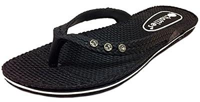 Chatties Women's Comfort Flip Flop with Rhinestones Black - L