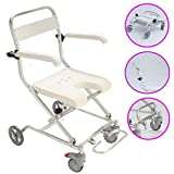 Wheeled Shower Commode Chair, Medical Transport Rolling Chair Waterproof, Folding Bedside Toilet Chair, for Bathroom Toilet Stool Elderly Disabled Person