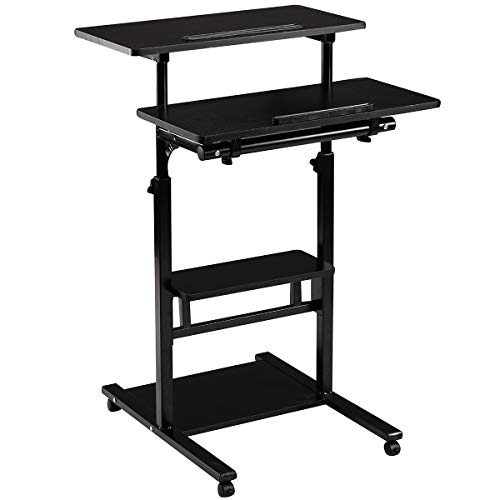 DOEWORKS Black Standing Working Station, Adjustable Laptop Desk with Wheels, Standup Computer Desk