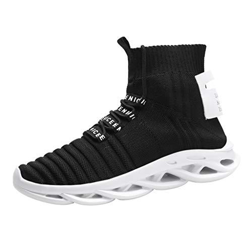 Herren Laufschuhe Kolylong® Männer Fitness Straßenlaufschuhe Leichte Klinge Wanderschuhe Atmungsaktiv rutschfeste Mode Stricken Obererz Sneaker Sportschuhe Hip Hop Socken Schuhe Freizeitschuhe