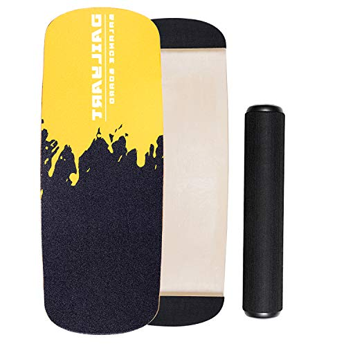 Dailyart Balance Board Trainer, Board Exercise with Roller, Training Equipment for Balance Stability and Fitness, Core Balance Board for Surf Ski Snowboard Skateboard Hockey Training, Yellow