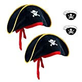 M&G House Halloween Adult and Kid's Party Pirate Hats Caribbean Pirate Hat Cap - 2 Pieces Black