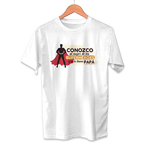Muy Chulo Camiseta Conozco al Mejor de los superhéroes Dia del Padre - Unisex Tallas Adultas e Infantiles - Frase motivadora - Regalo Original para Papá (L)