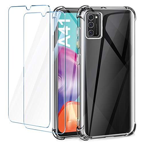 AROYI Funda Compatible con Samsung Galaxy A41 y 2 Pack Cristal Templado, Reforzar la versión con Cuatro Esquinas Ultra Flexible Transparente TPU Silicona Carcasa Protector Case